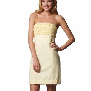Lilly Strapless Franco Dress in Yellow Seersucker size 6 EUC